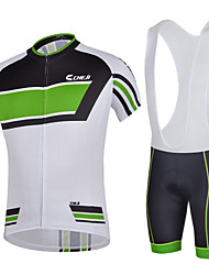 CHEJI Men Breathable Bib Shorts Sleeve Cycling Jersey Set 3D Pad Bib Shorts Set