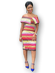 Women's Party / Cocktail / Casual / Day / Boho Striped Bodycon Dress , Strapless Knee-length Polyester / Spandex