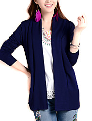 Women's Solid Blue Knit Cardigan , Casual / Day / Boho Long Sleeve