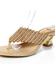 Women's Shoes Leather Chunky Heel Toe Ring / Mary Jane Sandals Party & Evening / Dress / Casual Gold