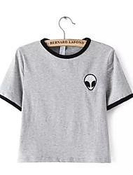 Damen Druck Street Schick Lässig/Alltäglich T-shirt,Rundhalsausschnitt Sommer Kurzarm Grau Baumwolle / Polyester Dünn