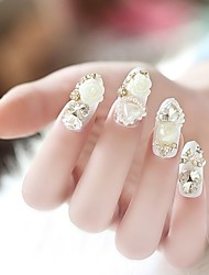 24PCS Luxurious Inlay Heart-Shaped Jewel Bride Feast Nail Tips