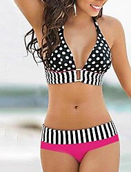Women's Sexy Halter Polka Dot Spliced Bikini Set