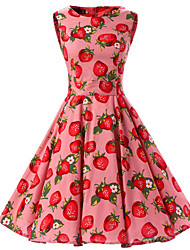 Women's Pink Strawberry Pattern Floral Dress , Vintage Sleeveless 50s Rockabilly Swing Short Cocktail Dress