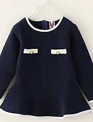 Girl's Blue / Beige Dress , Dresswear Cotton Spring