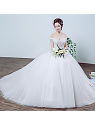 Princess Wedding Dress Floor-length Off-the-shoulder Organza / Satin with Beading