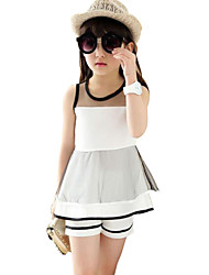 Girl's White Clothing Set,Striped Polyester Summer