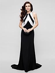 TS Couture® Formal Evening Dress - Beautiful Back Plus Size / Petite Sheath / Column Jewel Sweep / Brush Train Satin Chiffon with Beading