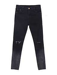 Women's Solid Black Jeans Pants,Casual / Day