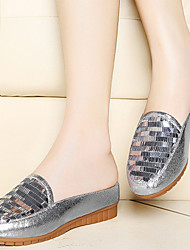 Women's Shoes Glitter Flat Heel Comfort / Slippers Slippers Office & Career / Athletic / Dress / Casual White / Silver