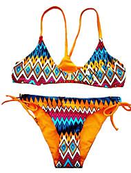 Women's Bandeau Bikinis , Floral Padded Bras Cotton / Spandex Yellow