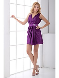 Lanting Bride® Short / Mini Taffeta Bridesmaid Dress Sheath / Column V-neck with Beading / Sash / Ribbon