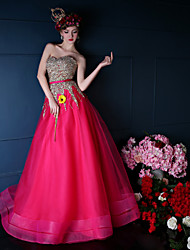 Formal Evening Dress - Fuchsia / Dark Navy A-line Sweetheart Floor-length Tulle / Charmeuse