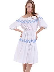casual / dia vestido de jacquard bainha boutique s das mulheres, pescoço barco acima de poliéster joelho