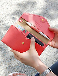 Unisex PU Tri-fold Clutch / Wallet - Pink / Brown / Red / Navy