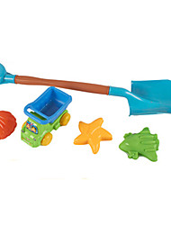 5-Pieces Beach Sand Toys Set with Sand Shovel, Truck, Star, Airline, Shell