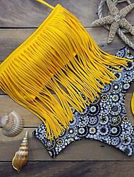 Women's Bandeau Bikinis , Tassels Padded Bras Spandex Yellow