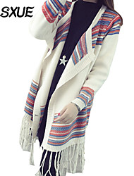DLSXUE Women's Color Block / Patchwork White Cardigan , Vintage / Boho Long Sleeve