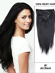15inch 7pcs straight 100% remy haar clip in human hair extensions # 1-gitzwart