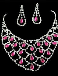 Bridal Wedding Bridesmaid Pink Diamantes Rhinestone Crystal Celebrity Inspired Jewelry Sets
