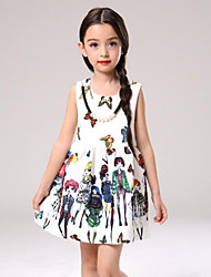 Girl's White Dress Rayon Summer / Spring / Fall