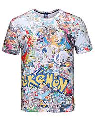 mangas curtas trajes pequeno monstro de impressão cosplay t-shirt 3d t-shirt do bolso roupas geeky em torno do pescoço para homens / mulheres