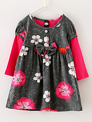 Menina de Vestido Floral Algodão Verão / Primavera Colorido