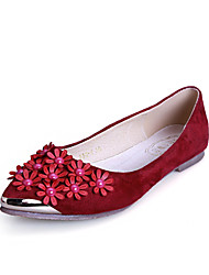 Women's Shoes Suede Flat Heel Comfort / Pointed Toe / Closed Toe Flats Dress / Casual Black / Blue / Red