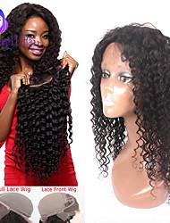 """8 """"-24"""" brasileño peluca del frente del cordón del pelo rizado virgen para frente del cordón pelucas de cabello humano de las mujeres"""
