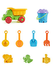9-Pieces Beach Sand Toys Set with Truck, Bucket, Sand Shovel, Sand Funnel, Sand Spoon , Sand Rake and 3-Models
