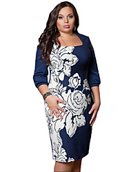 Women's Sexy Floral Plus Size / Bodycon Dress , Square Neck Knee-length Cotton / Polyester