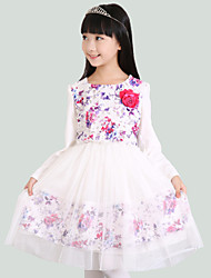 Girl's Multi-color Dress,Floral / Lace / Dresswear Cotton / Polyester Fall