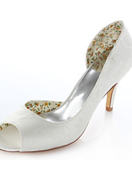 Women's Shoes Stretch Satin Summer Heels / Peep Toe Wedding / Dress / Party & Evening Stiletto Heel Ivory
