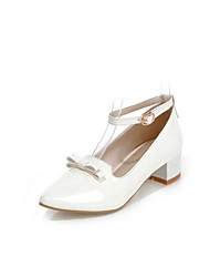 Women's Shoes Patent Leather Chunky Heel Heels Heels Wedding / Office & Career / Party & Evening  / White / Beige