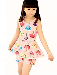 Girl's Blue / Pink / White / Gray Clothing Set,Floral Polyester Summer