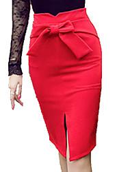 Damen Röcke  -  Sexy / Arbeit Knielang Kunstseide Mikro-elastisch