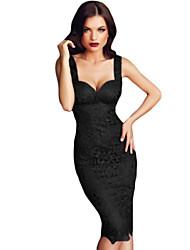 Women's  Black Lace Push-up Bodycon Dress