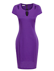 Women's Work / Casual / Day Solid Sheath Dress , Round Neck Above Knee Polyester