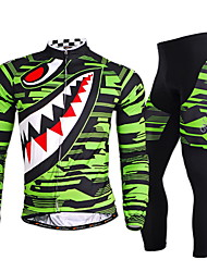 Nuckily Cycling Jersey with Tights Men's Long Sleeves Bike Clothing Suits Quick Dry Windproof Ultraviolet Resistant Moisture Permeability