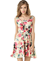 Women's Boho Chiffon Dress,Floral Round Neck Above Knee Sleeveless Multi-color Polyester Spring