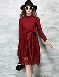 Women's Fashion Shirt Collar A Line Lace Splicing Dress