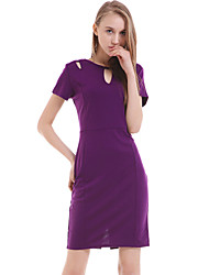 Women's Party Vintage Bodycon Dress,Solid Round Neck Knee-length Short Sleeve Black / Purple Summer