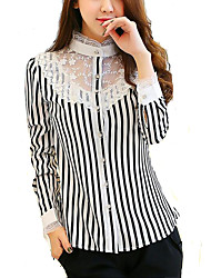 Women's Black and White Strip Long Sleeve Chiffon Shirt