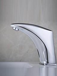 Zeitgenössisch Mittellage Sensor with  Elektromagnetventil Hände frei Ein Loch for  Chrom , Waschbecken Wasserhahn