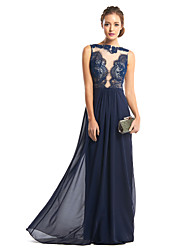 Formal Evening Dress Sheath/Column Bateau Floor-length Chiffon / Lace