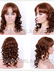 2016 Hot New Hot Sexy Big Curly Wave with Full Bang 6-26 Inches 8A Brazilian Virgin Human Hair Full Lace Front Wigs