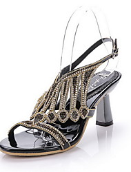 Women's Shoes Leather Chunky Heel Heels Sandals Party & Evening / Dress / Casual Black / Silver / Gold