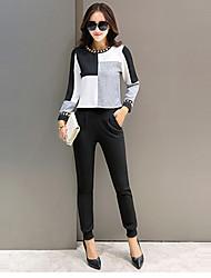 Hoodies Aux femmes Sportif Grandes Tailles / Actif Mosaïque Noir Polyester