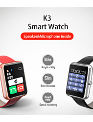 K3 Bluetooth 4.0 2.5D Gorilla Glass Heart Rate Monitor Smartwatch - Metal Body With Leather