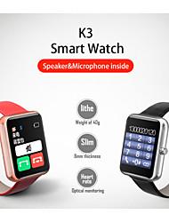 k3 Bluetooth 4.0 2.5d Gorilla-Glas Herzfrequenz-Monitor Smartwatch - Metallgehäuse mit Leder